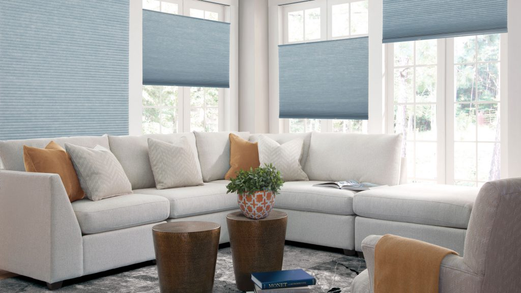 Top-down/bottom-up cellular shades, a perfect fit for the living room