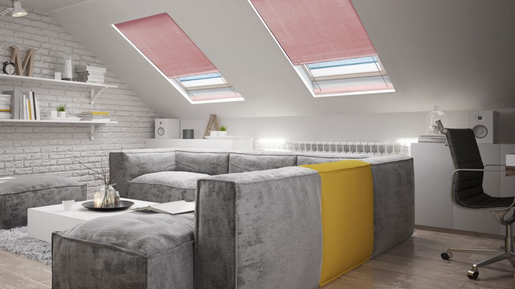 ClearFit™ Cellular Shades for Skylights in the living room
