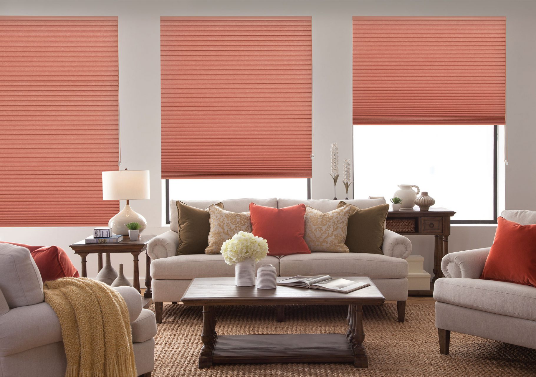 Bottom-up cellular shades perfect for the living room