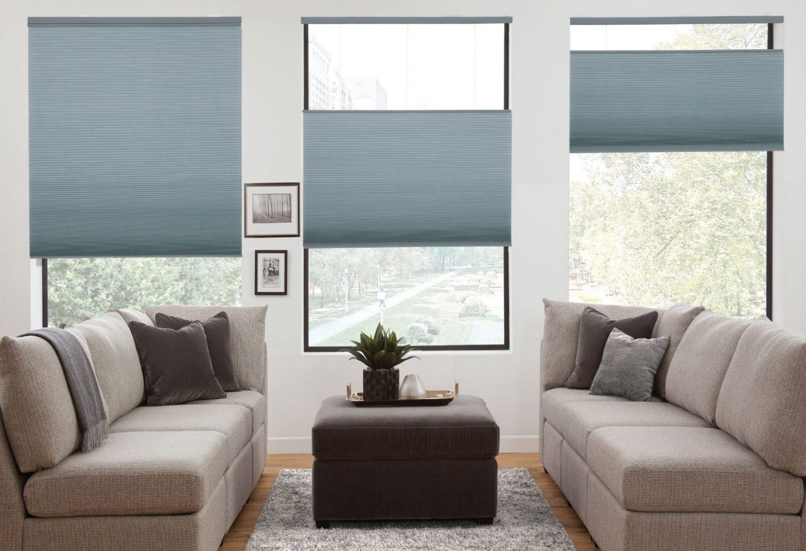 Top-Down/Bottom-Up cellular shades, the perfect fit for the living room