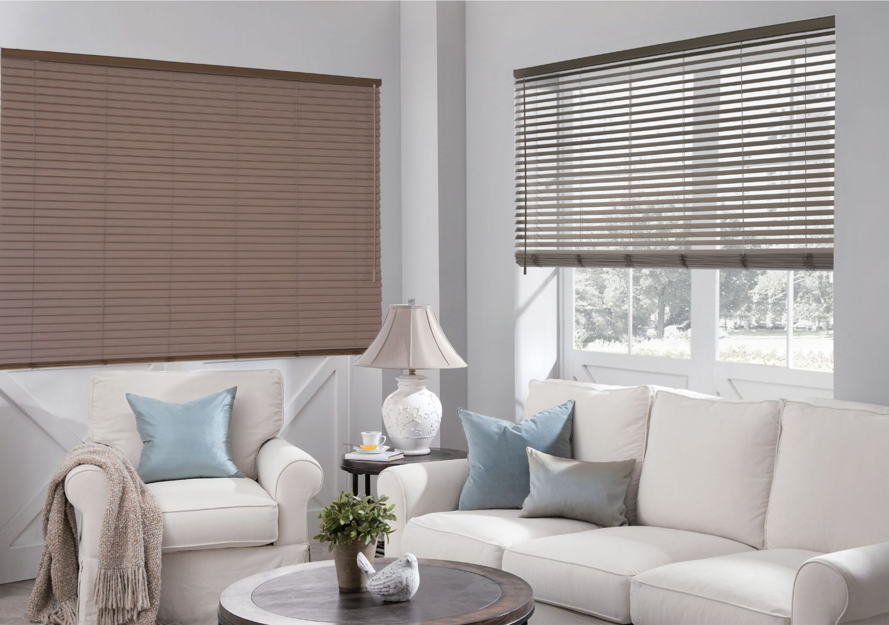 Faux wood blinds, perfect for the living room