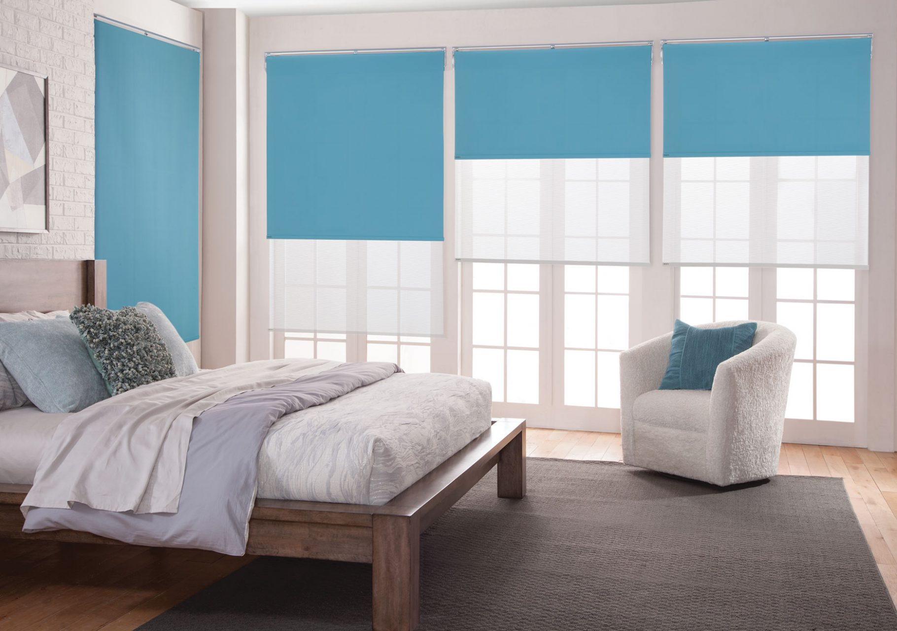 Room darkening roller shades for the bedroom