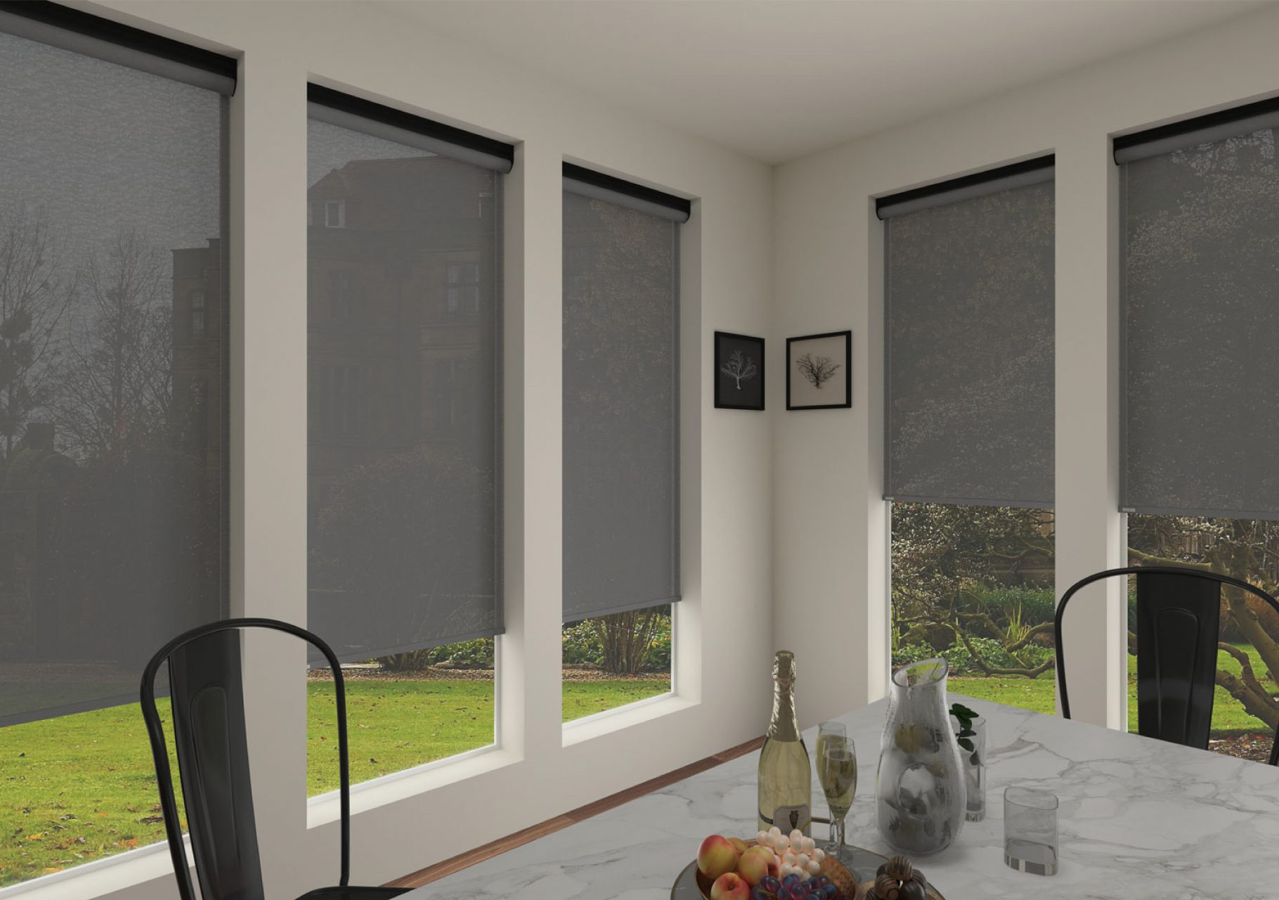 Light filtering roller shades for the dining room