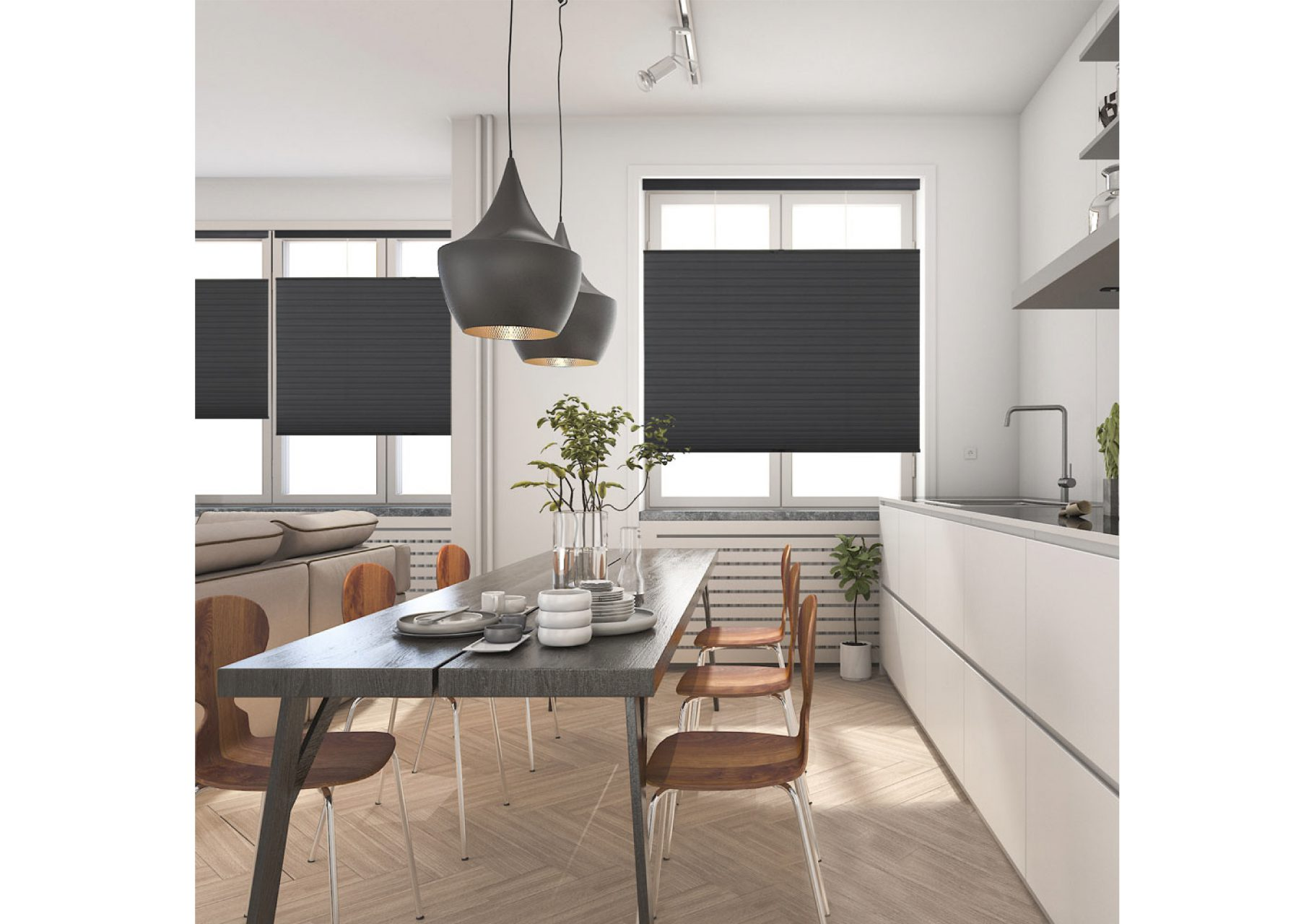 Top-down/Bottom-Up cellular shades for the dining room