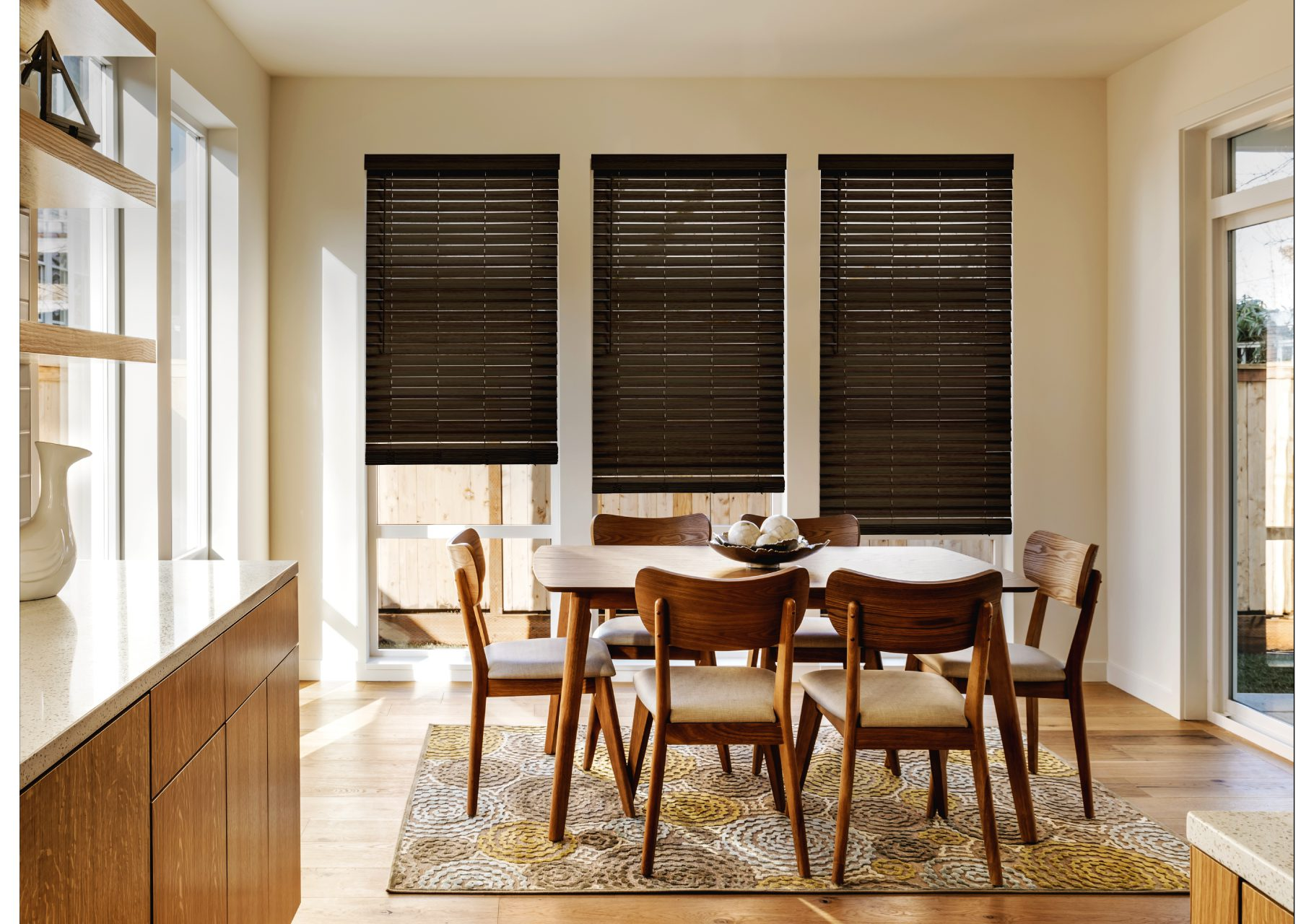 Faux wood blinds for the dining room
