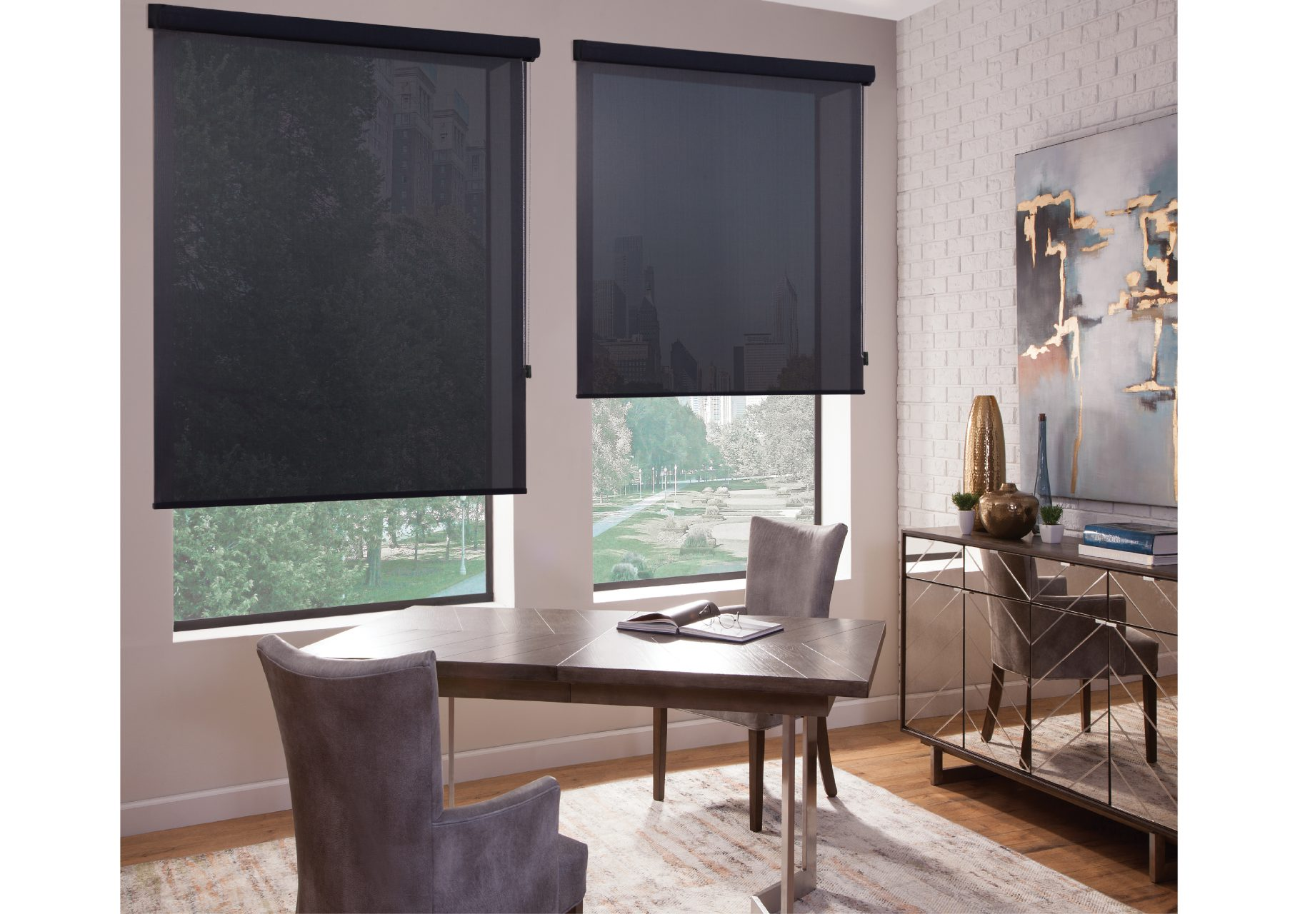 Black solar shades to prevent glare in your home office
