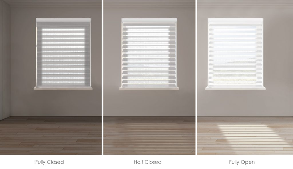 Sheer shades allow precision light control and beautiful light transitions. Just adjust the horizontal vanes from fully closed to half closed to fully open.