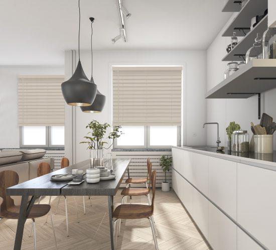 Veneta Faux Wood Blinds can match flooring