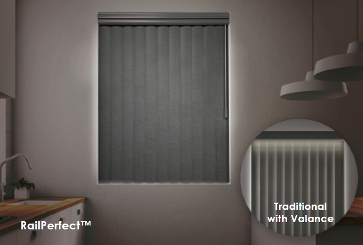 Compare our vertical blinds with RailPerfect to a traditional headrail with a valance.