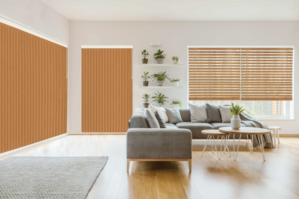 Select styles of Veneta vertical blinds match Veneta Designer faux wood blinds to make decor easy.