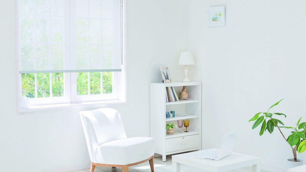 Solar Shade (white) bedroom. home office