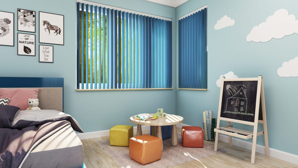 Vertical Blinds in Dusty Blue, cordless and perfect for a Child's Room
